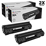 LD Compatible Toner Cartridge Replacements for HP 36A CB436A (Black, 2-Pack)