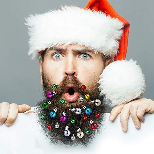 Eyscoco Bartschmuck,16 Stück Weihnachten Bart Kugeln Weihnachtsmann Clipverschluss, 12 Bunte Weihnachtskugeln und 4 Fröhlich Klingelnde Glöckchen tolles Weihnachts- und Silvester-Geschenk
