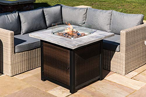 Peaktop Firepit Outdoor Gas Fire Pit Rattan, Cover, Easy Ignition HF34501BA-UK, Dark Brown