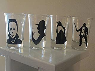 4 Slasher Shot Glasses Michael Myers Freddy Jason Leatherface Horror Halloween Merch Massacre Bar Drinkware