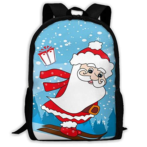 XCNGG Christmas Cartoon Skiing Santa Claus Large Capacity Travel Computer Backpack, Adult Printed Backpack, Anti Splash Student School Backpack
