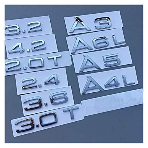 GZA Pegatinas Pegatinas De Automóvil A1 A3 A4 A5 A6 A7 A8 A4L A6L A8L Q3 Q5 Q7 1.8T 2.0T 2.4 2.8 3.0 3.0T 3.2 3.2T 4.2 Emblema Coche Pegatina Trasera Insignia (Size : A3)