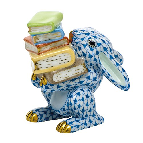 Herend Scholarly Bunny Rabbit Porcelain Figurine Blue Fishnet