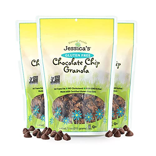 Jessica's Natural Foods - Gluten-Free Chocolate Chip Granola, made with rich chocolate chips, Non-GMO, no artificial flavors or preservatives, 11oz (Pack of 3)