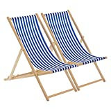 Harbour Housewares Traditional Adjustable Garden/Beach-style Deck Chair - Blue/White Stripe - Pack of 2