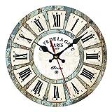 KLOVA Reloj de Pared, Gran Reloj de Pared Vintage Reloj de Pared silencioso sin tictac Números Romanos Reloj de Pared Dorado para el hogar/la Cocina