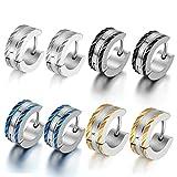 OIDEA 5mm Orecchini per Uomo Orecchini Rotondi in Acciaio Inox Modello Fiori Argento Nero Blu Oro(4 Coppie)
