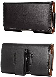 Blackberry Z30 Horizontal Black Smooth Leather Case Belt Holster Pouch with Heavy Duty 360 Degree Swivel Belt Clip & Magnet Flap