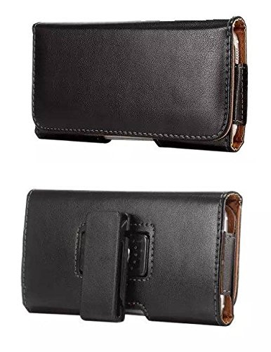 LG LEON LTE Horizontal Black Smooth Leather Case Belt Holster Pouch with Heavy Duty 360 Degree Swivel Belt Clip & Magnet Flap