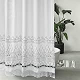 Seavish Tassel Shower Curtain, 60 x 72 Boho Fabric Shower Curtains with White Fringes,Chic Bohemia Bathroom Curtains Set with Hooks, Simply Design, Heavy Weighted and Waterproof