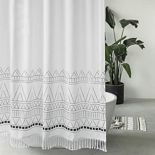 Seavish Tassel Shower Curtain, 72 x 72 Boho Fabric Shower Curtains with White Fringes,Chic Bohemia Macrame Bathroom Curtains Set with Hooks, Simply Design, Heavy Weighted and Waterproof