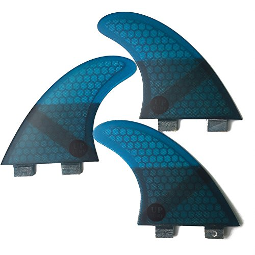 UPSURF Tabla de Surf FCS 3Aletas Fibra de Vidrio Aletas de Surf Tener Panal Thruster Set (Blue G3)