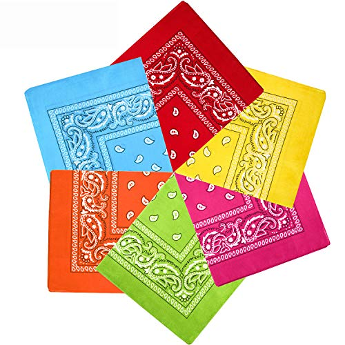 6 Pieces Paisley Bandanas Assorted Cowboy Bandanas Unisex Novelty Print Head Wrap Scarf Wristband for Adults and Kids (Yellow, Red, Rose Red, Orange, Light blue, Green)