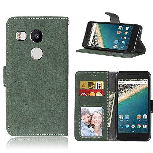 pinlu Hohe Qualität Retro Scrub PU Leder Etui Schutzhülle Für LG Google Nexus 5X Lederhülle Flip Cover Brieftasche Mit Stand Function Innenschlitzen Design Grün
