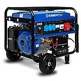 EBERTH 5500 Watt Générateur électrique (Triphasé, 13 CV Moteur à essence 4 temps, 1x 400V, 3x 230V, 1x 12V, Régulateur de tension automatique AVR, Alarme manque d'huile, Voltmètre)
