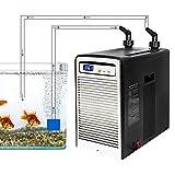 HANMIAO Enfriador de Agua para acuarios, máquina enfriadora para pecera, Bomba de Aire silenciosa para acuarios Equipo de Cultivo de mariscos para Algas acuáticas/Medusas/Coral/camarones de Cristal