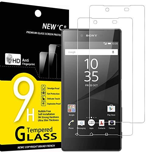 NEW'C 2 Stück, Schutzfolie Panzerglas für Sony Xperia Z5 Premium, Z5+, Frei von Kratzern, 9H Festigkeit, HD Bildschirmschutzfolie, 0.33mm Ultra-klar, Ultrawiderstandsfähig