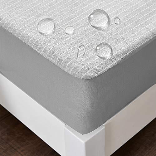 ボックスシーツ 防水 シーツ ベッドカバー マットレスカバー 抗菌・防臭 ベッドシーツ おねしょシーツ(セミダブル・120×200cm グレー)