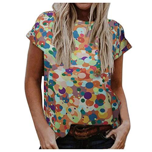 Camiseta informal de manga corta con cuello redondo para mujer, estilo vintage, bosque, floral, colorido, gráfico básico, de verano, blusa