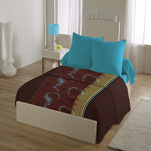 HOME LINGE PASSION Parure de Drap 4 Pièces 240X300 Lovely Heart, Microfibre, Chocolat-Turquoise-Jaune, 240x300 cm
