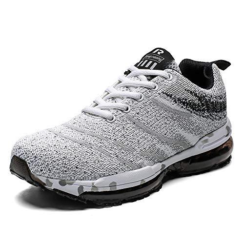 PAMRAY Laufschuhe Herren Sportschuhe Damen Turnschuhe Running Fitness Sneaker Trekking Air Sohle Low Top Mesh Weiss 42