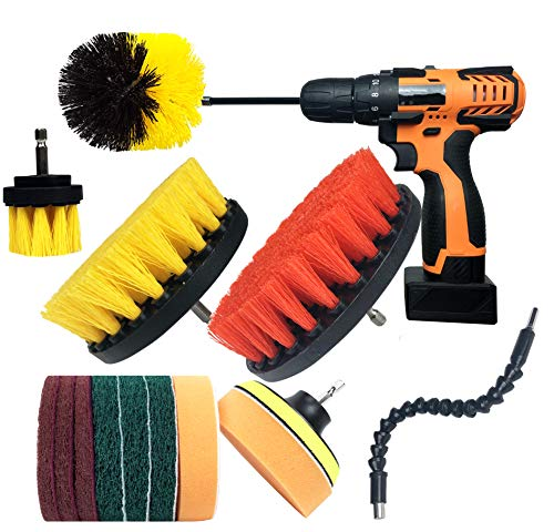 Drill Brush Attachments Set, Scrub Sponge, Scouring Pads Power Scrubber Kit with Extend Attachments for Cleaning Bathroom, Kitchen, Upholstery, Shower, Grout, Tiles, Tube, Corner, Carpet, 15 Pieces