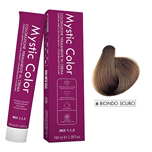 Mystic Color - Crème Colorante Permanente à l'Huile d'Argan et au Calendula - Coloration Longue Durée - Couleur Blond Foncé 6 - 100ml
