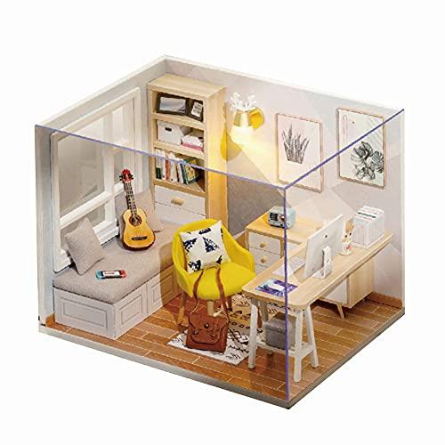 InnerSetting 3D Holz DIY Puppenhaus Kit Manuell Montage Study Zimmer Spielzeug Geschenk (B)