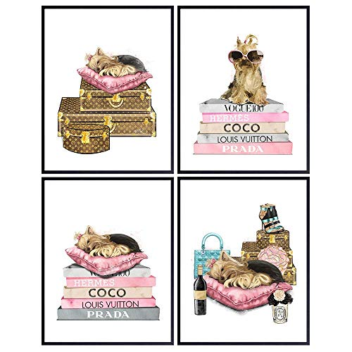 Luxury Designer Couture Wall Art - Cute Dog Lover Gifts for Women, Girls, Teens - Yorkie, Yorkshire Terrier Home Decorations - Puppy Decor - Glam Decor - High Fashion Pink Room Decor