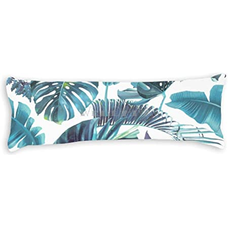 tropical leaves body pillow case cover 20 x 54 body pillow covers with zipper cotton soft long pillow case for body pillows for adults kids