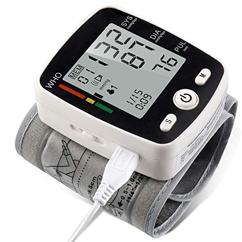 potulas Wrist Blood Pressure Monitor with USB Charging, Portable Automatic Digital BP Machine,180 Reading Memory Mode, Voice Broadcast, Adjustable Cuff and Irregular Heartbeat Indicator