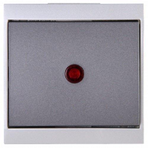 Kopp 621665084 Malta Kontroll-Schalter (Aus- und Wechsel) mit Linse und eingesetzter Glimmlampe , silber-anthrazit