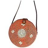 Dasongff Rattantasche für Frauen Runde Handgewebte Stroh Crossbody Schultergurt Handtasche Retro Bali Tasche Rattan Bag Round Umhängetasche Aufbewahrungstasche