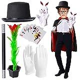 Yewong Kids Magician Pretend Play Dress Up Set with Accessories,Magician Cloak Cape Top Hat Wand Gloves Rabbit Puppet Magic Tricks Kit, Magician Role Play Set (Set-A)