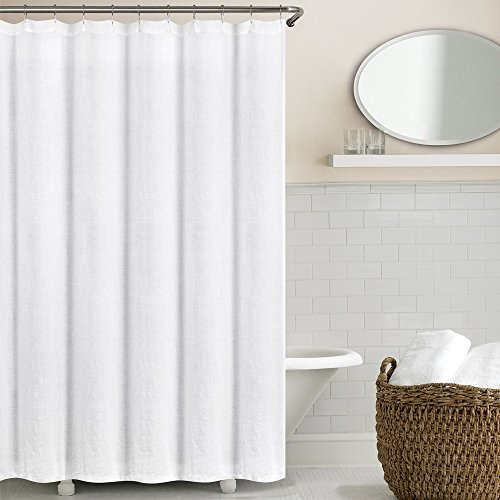 Echelon Home Washed Belgian Linen Shower Curtain, Eggshell White