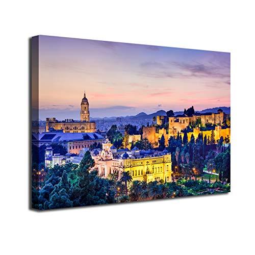 Desconocido Cuadro Lienzo Canvas Malaga Alcazaba y Catedral iluminada al Atardecer Andalucia – Varias Medidas - Lienzo de Tela Bastidor de Madera de 3 cm - Impresion en Alta resolucion (50, 33)