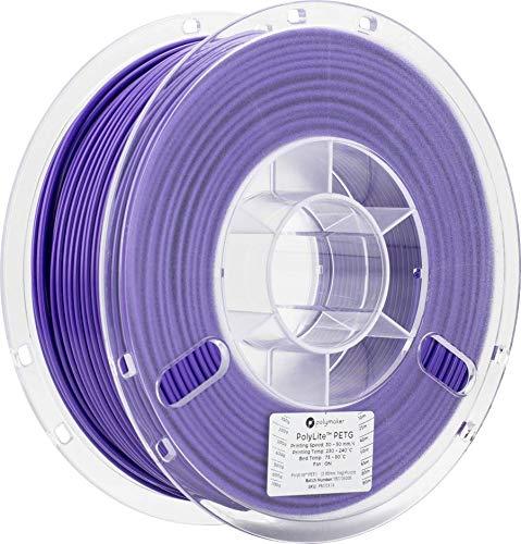 Polymaker PolyLite PETG 3D Printer Filament, 3D Printing Filament, 2.85 PETG - 1Kg Spool (2.2lbs) Purple [Random Outer Packaging]…