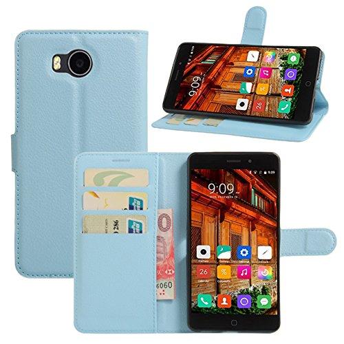 HualuBro Elephone P9000 Lite Hülle, Premium PU Leder Leather Wallet HandyHülle Tasche Schutzhülle Flip Hülle Cover mit Karten Slot für Elephone P9000 Lite Smartphone (Blau)