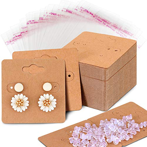 WILLBOND 100 Pieces Earring Card Holder Jewelry Display Cards, 200 Pieces Earring Backs and 100 Pieces Self-Sealing Bags Cellophane Bags for Earrings Necklace Jewelry Display