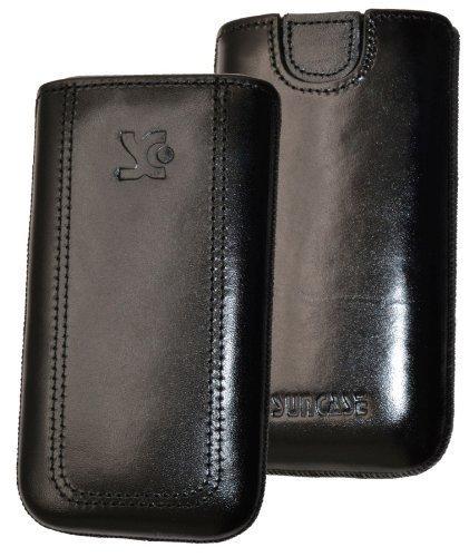 Original Suncase Tasche für / Emporia PURE / Leder Etui Handytasche Ledertasche Schutzhülle Hülle Hülle - Lasche mit Rückzugfunktion* in schwarz