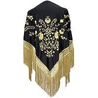 La Señorita Mantones bordados Flamenco Manton de Manila Grande negro oro, flecos oro