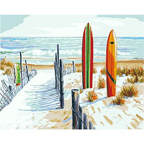 nanxiaotian Adult Digital Painting DIY Adult Digital Painting Kit für Anfänger und Neue Maler, 16 x 20 Zoll (Rahmenlos) am Meer Zaun Landschaft