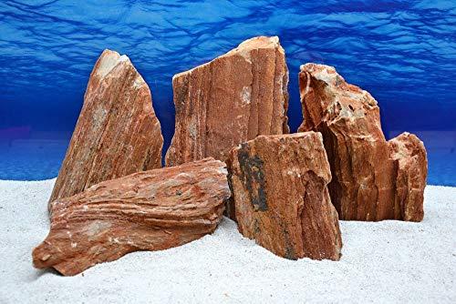 Pro Stein Aquarium Deko Versteinertes Holz rot braun Natursteine 4,5-5,5 Kg Felsen Nr.53 Pagode Dekoration Aquascaping