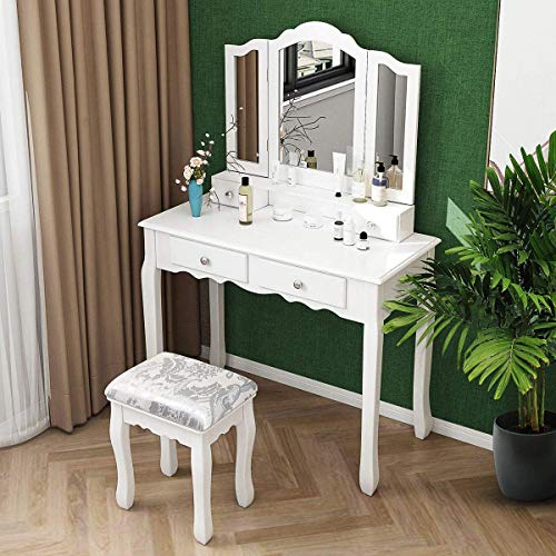 Vanity Desk with Trifold Mirror, Dressing Table with 4 Drawers and Stool, Makeup Vanity Set Bedroom Furniture for Girls Women (White)