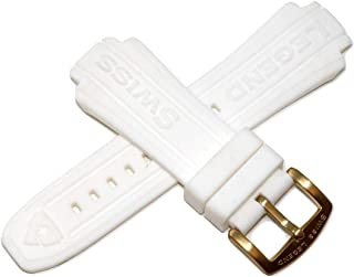 Swiss Legend 20MM White Silicone Band Strap & Satin Gold Stainless Buckle fits 40mm Neptune Watch