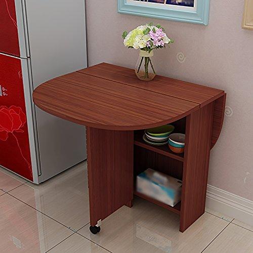 Xuping opklapbare tafel staande bureau keuken eettafel - schaalbare ronde tafel kast combinatie vernis computer bureau verplaatsbare opvouwbare tafel, 120 * 80 * 75cm
