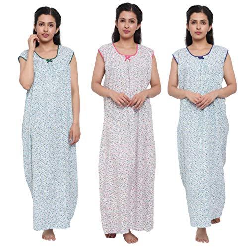 CIERGE Women's Cotton Sleeveless Flowered Nighty (Multicolour , Free Size...