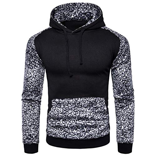 Men's Sweatshirt Men Hoodie Comfortable Slim Elastic Fiber Sport Style Men Hoodie New Casual Kangaroo Pocket Stitching Retro Outdoor Men Pullovers Fashion Men's Clothing D-Black M
