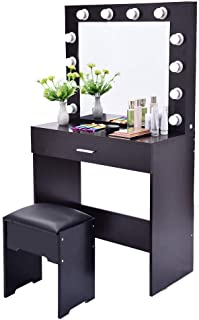 Fine Vanity Table Set Mirror with LED Lights, Dressing Table and Stool Set with Drawers Removable Top Organizer Multi-Functional Padded Stool Large Bedroom Vanities