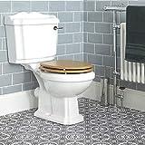 Hudson Reed Oxford Sanitario WC Monoblocco Tradizionale con Cassetta e Sedile ad Effetto Noce - Ceramica Bianca Glassata - Design Vintage da Terra - 860 x 486 x 730mm